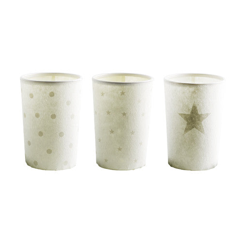 Christmas Paper and glass Votive with  star/dot design Set of Three