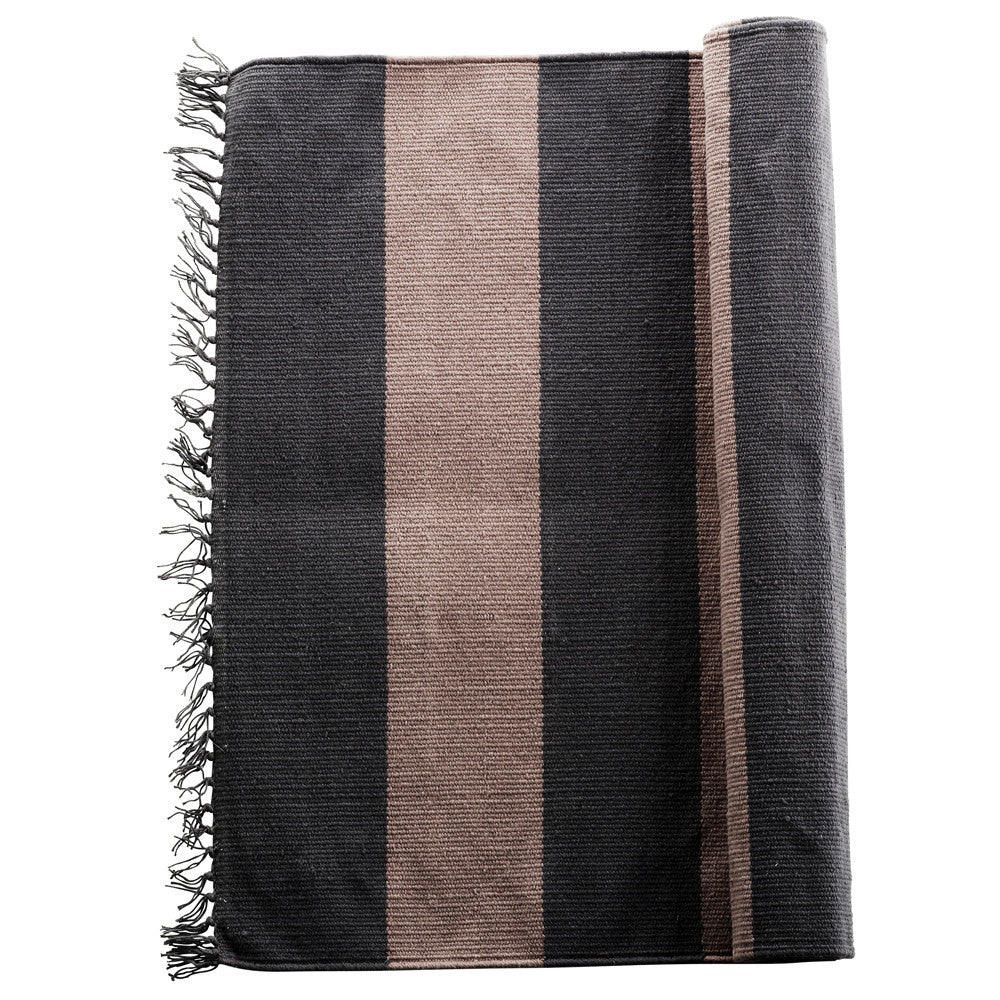 Mega stripe hall runner, fringed edge - Almond