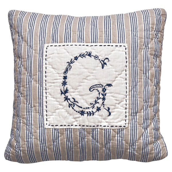 Quilted Cushion Nora Blue with Embroidery