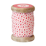 Ribbon on Vintage Spool - Haven Cream with Red 15mm x 5m
