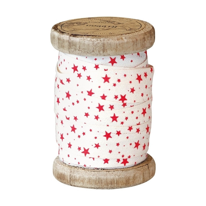 Ribbon on Vintage Spool - Small Star Red 15mm x 5m