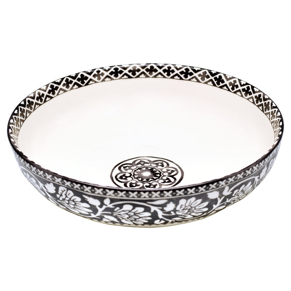 Sasha Salad Bowl - Black and White 28.5cm