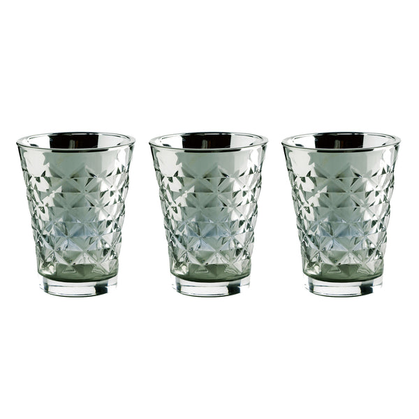 Facet glass for candle, metallic  - Set of 3