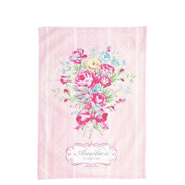 "Tea Towel ""Tea Room"" pale pink. Piece printed"