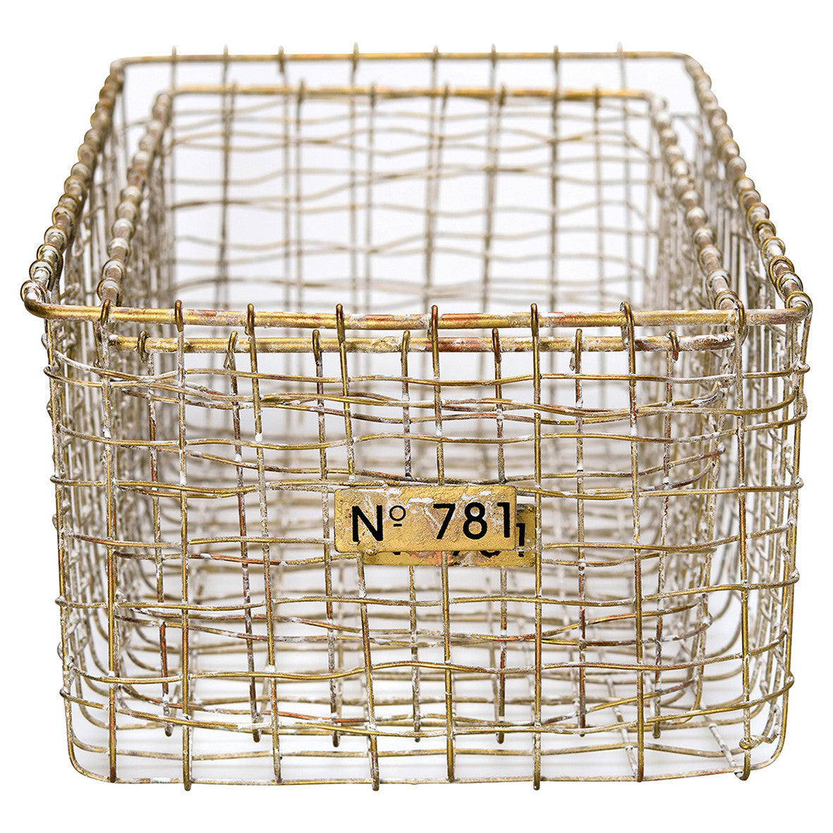 Whitewash Gold Baskets - Set of 2
