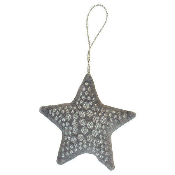 Large Xmas velvet Star silver Set of 2