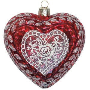 Red lace Christmas heart Set of 6