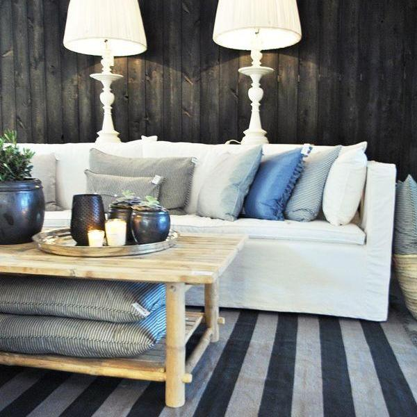 Mega stripe rug, fringed edge - Phantom
