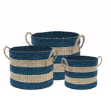 Mega Stripe Baskets -Set of 3 Green