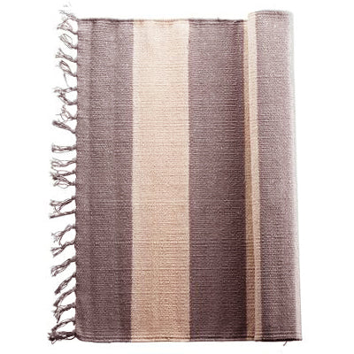 Mega stripe Rug / Runner, fringed, cotton - Tea