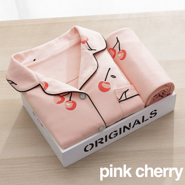 New! Cherry Woman Long Pyjama Set
