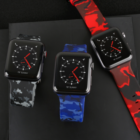 apple watches with colorful camo straps