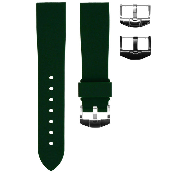 FOREST GREEN RUBBER STRAP FOR ROLEX DAYTONA ON LEATHER