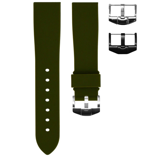 OLIVE RUBBER STRAP FOR ROLEX DAYTONA ON LEATHER
