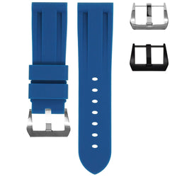 TUDOR FASTRIDER BLACK SHIELD STRAP - INDIGO BLUE RUBBER