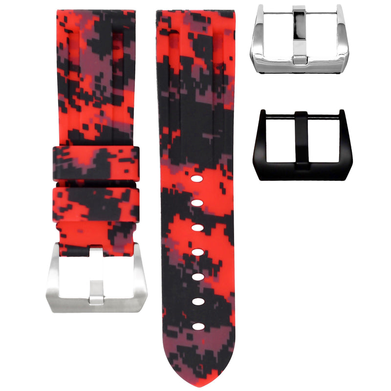 TUDOR FASTRIDER BLACK SHIELD STRAP - RED DIGI CAMO RUBBER