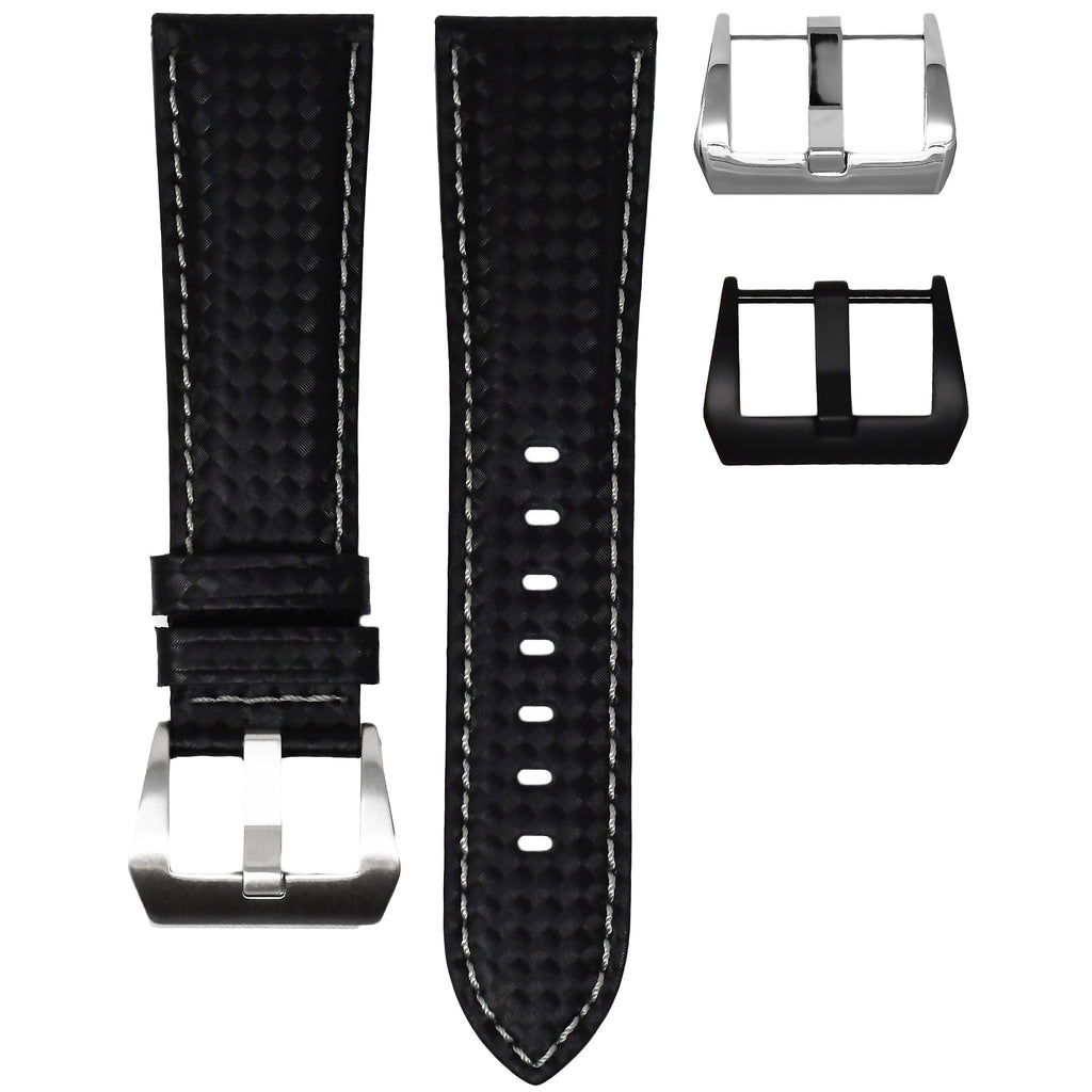 CARBON FIBER / GREY STITCHING TAG HEUER CARRERA STRAP
