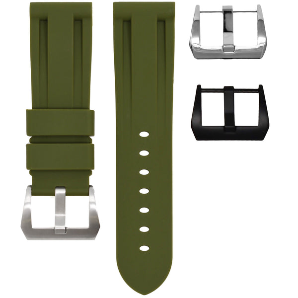 Olive Green Rubber Panerai Luminor Strap