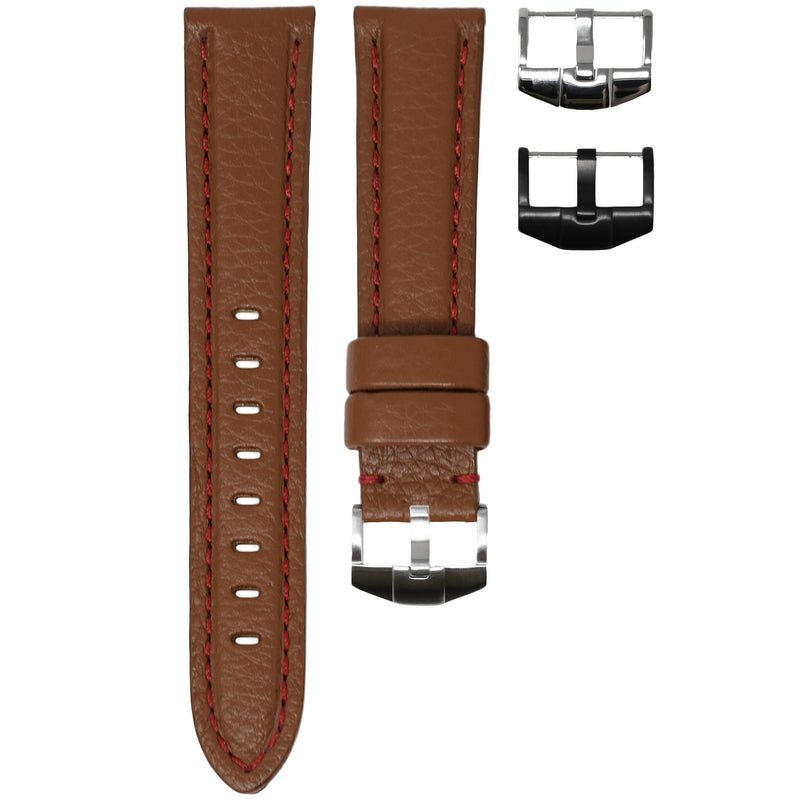ORIS BIG CROWN STRAP - COGNAC LEATHER / RED STITCHING