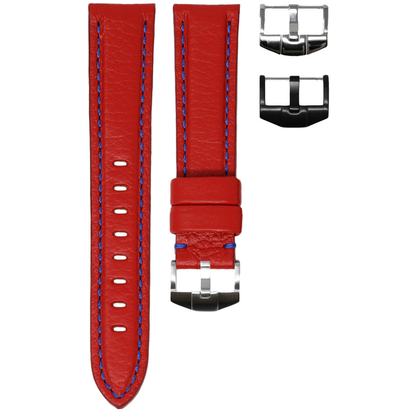 OMEGA SPEEDMASTER STRAP - RED LEATHER / BLUE STITCHING