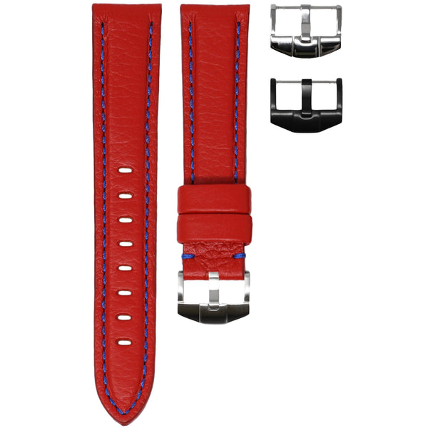 ORIS BIG CROWN STRAP - RED LEATHER / BLUE STITCHING