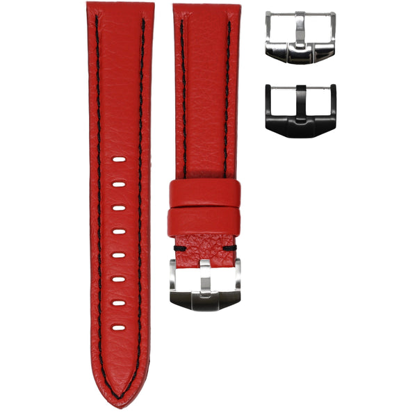 ORIS BIG CROWN STRAP - RED LEATHER / BLACK STITCHING