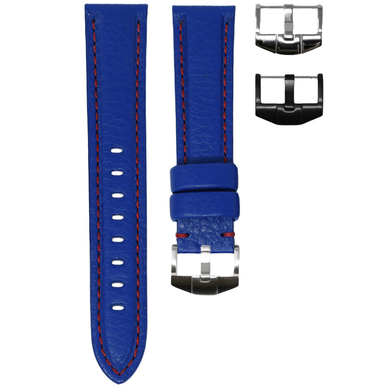 TAG HEUER AQUARACER STRAP - BLUE LEATHER / RED STITCHING