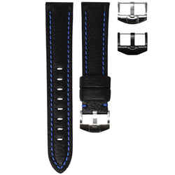 TAG HEUER AQUARACER STRAP - BLACK LEATHER / BLUE STITCHING