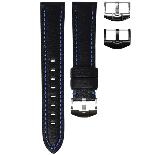 ORIS BIG CROWN STRAP - BLACK LEATHER / BLUE STITCHING