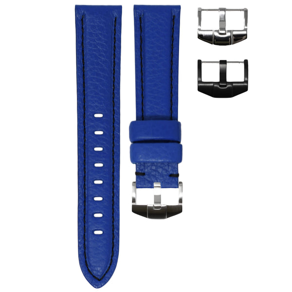 ORIS BIG CROWN STRAP - BLUE LEATHER / BLACK STITCHING
