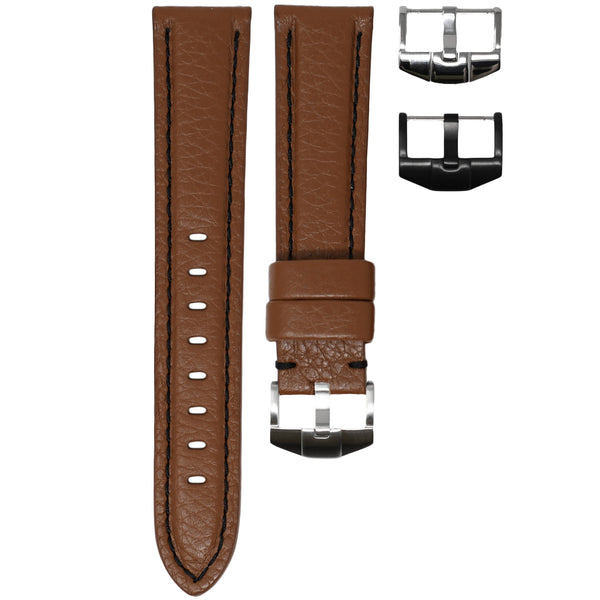 TAG HEUER AQUARACER STRAP - COGNAC LEATHER / BLACK STITCHING