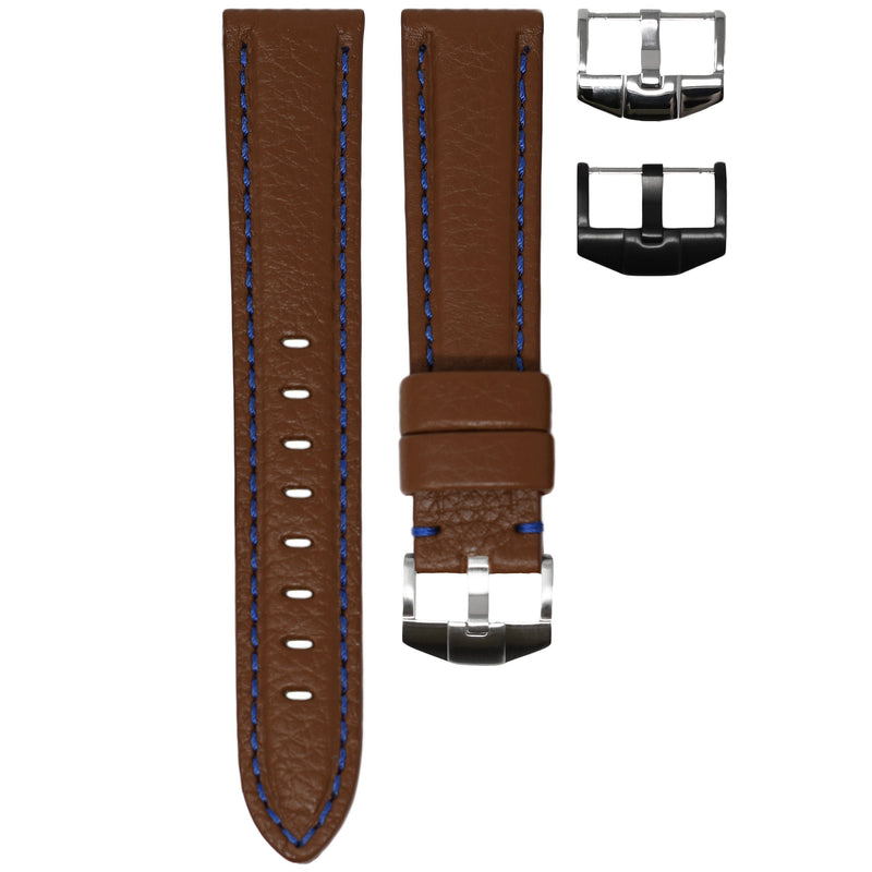 TAG HEUER AQUARACER STRAP - COGNAC LEATHER / BLUE STITCHING