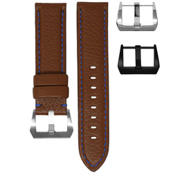 PANERAI LUMINOR STRAP - COGNAC LEATHER / BLUE STITCHING