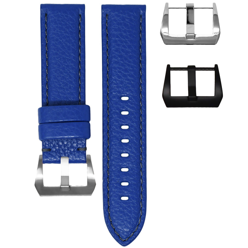 TAG HEUER CARRERA STRAP - BLUE LEATHER / GREY STITCHING