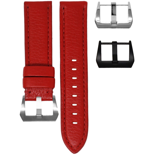 24MM LUG WIDTH STRAP - RED LEATHER