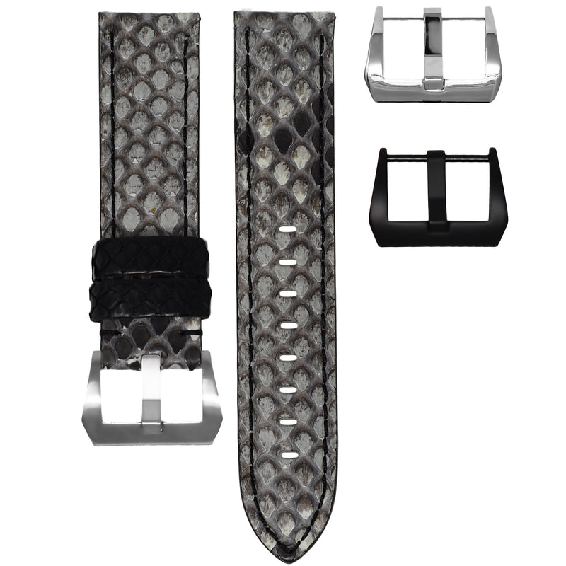 TAG HEUER CARRERA STRAP - GREY / BLACK PYTHON