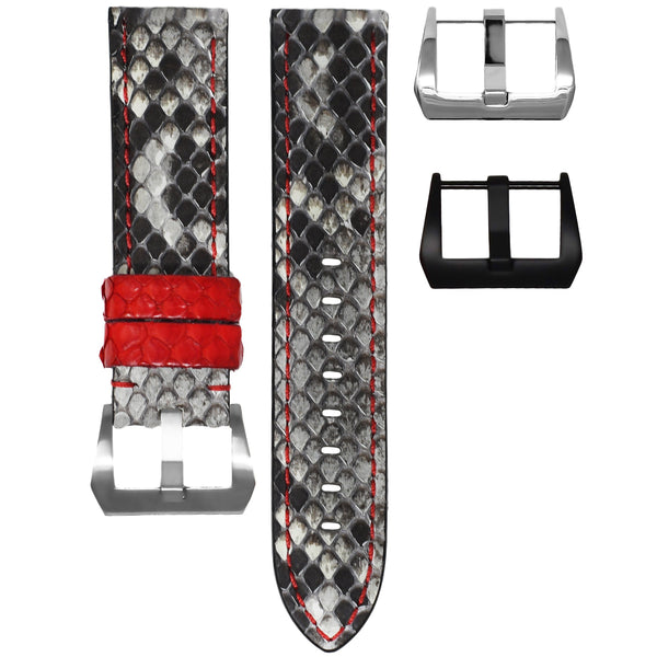 TAG HEUER CARRERA STRAP - GREY / RED PYTHON
