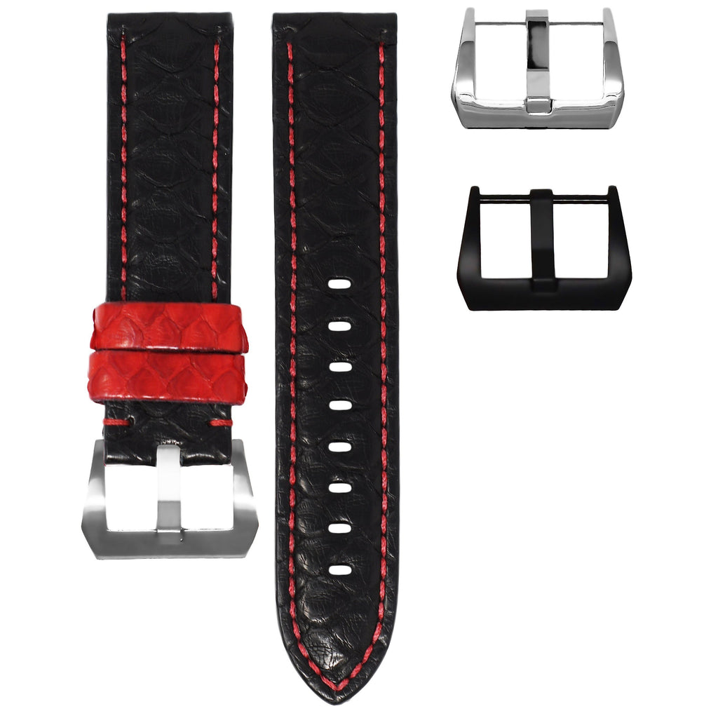 BLACK / RED PYTHON TAG HEUER CARRERA STRAP