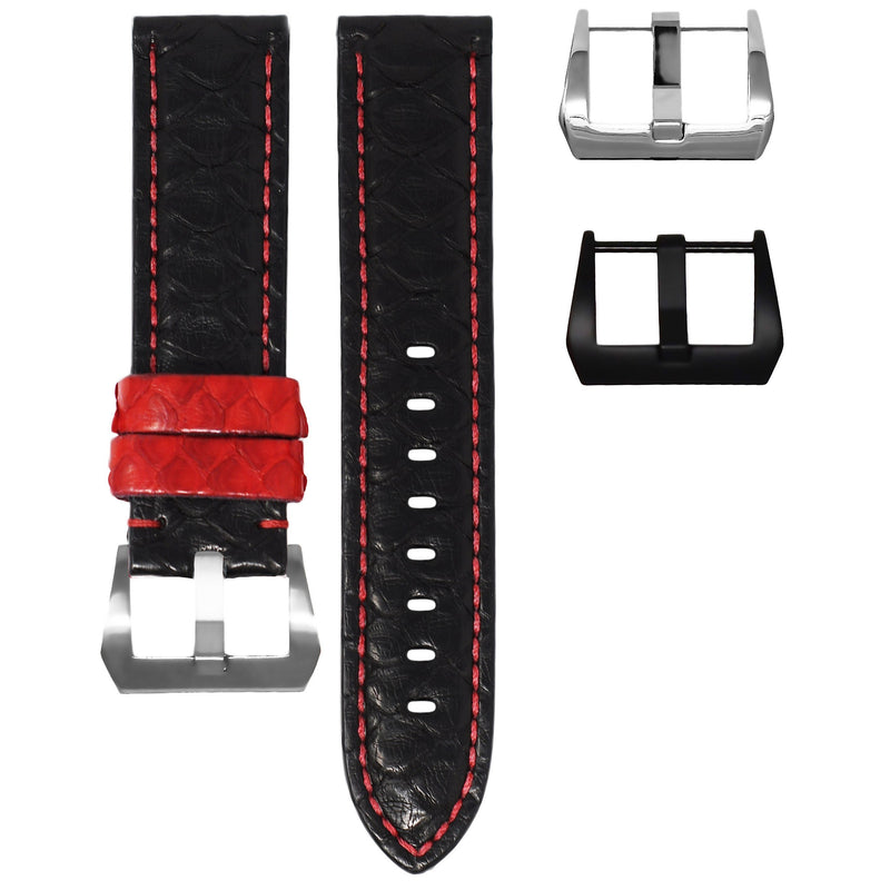 TAG HEUER CARRERA STRAP - BLACK / RED PYTHON