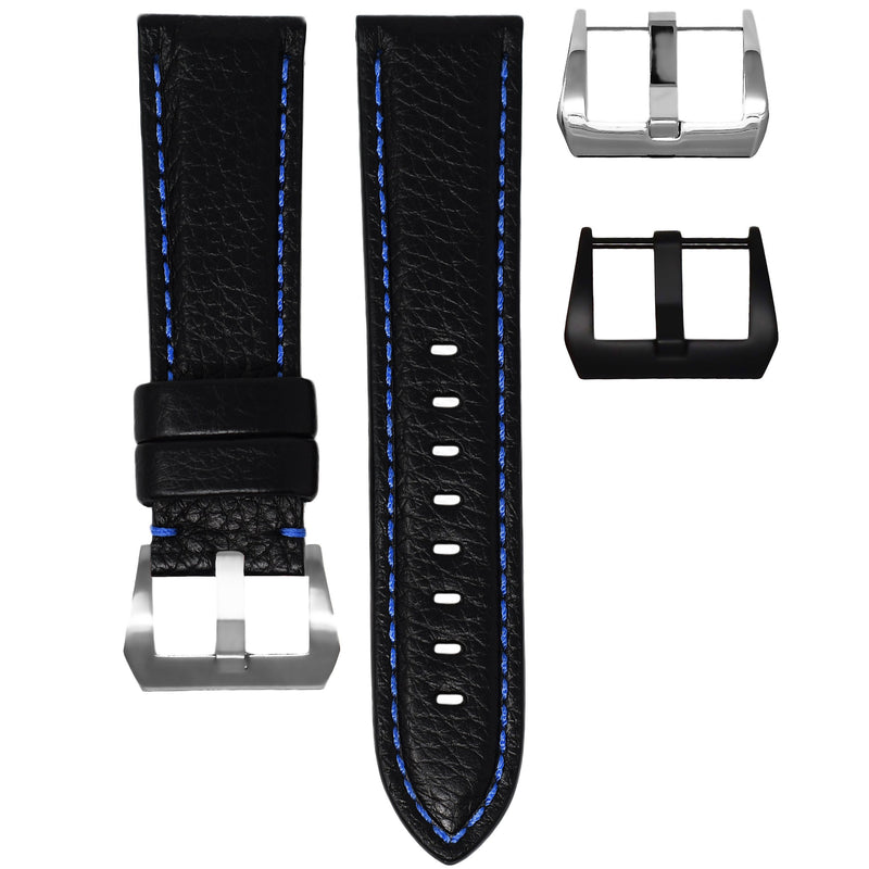 TUDOR BLACK BAY STRAP - BLACK LEATHER / BLUE STITCHING