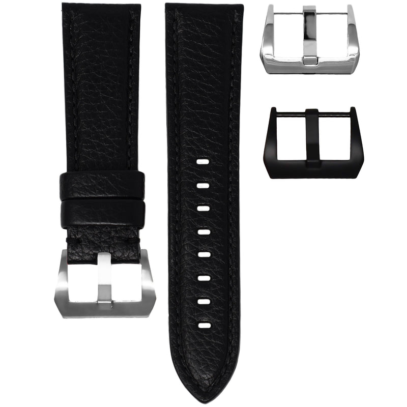 TAG HEUER CARRERA STRAP - BLACK LEATHER / BLACK STITCHING