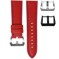 24MM LUG WIDTH STRAP - RED LEATHER / BLUE STITCHING