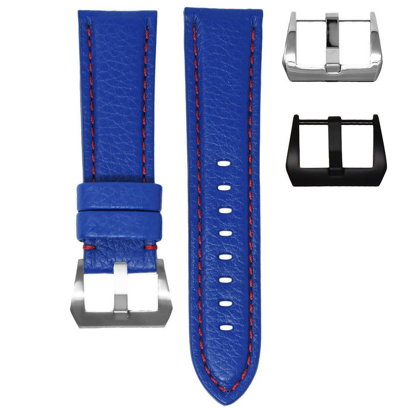 TUDOR PELAGOS STRAP - BLUE LEATHER / RED STITCHING