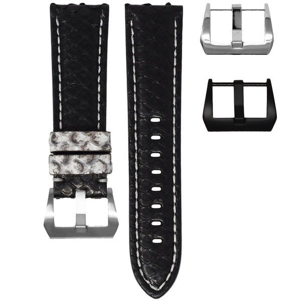 PYTHON TAG HEUER CARRERA STRAP - BLACK / GREY