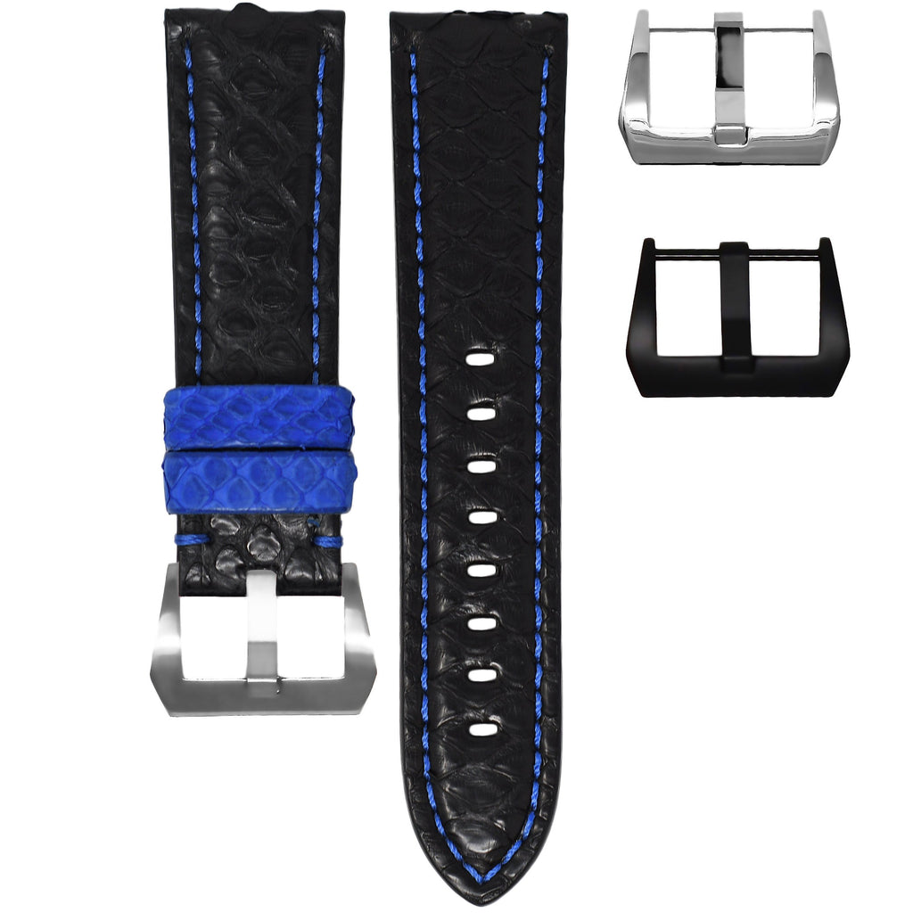 BLACK / BLUE PYTHON TUDOR BLACK BAY STRAP