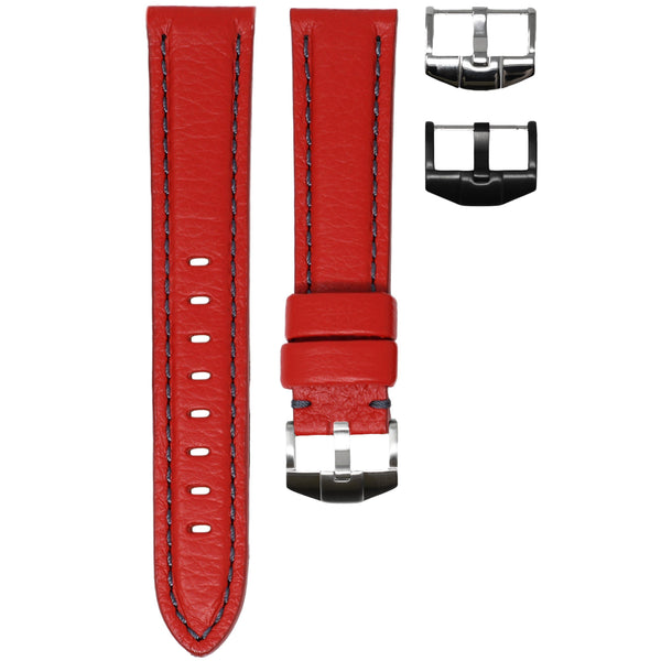 ORIS BIG CROWN STRAP - RED LEATHER / GREY STITCHING