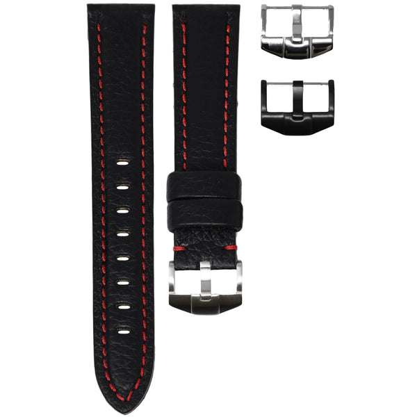 ORIS DIVERS STRAP - BLACK LEATHER / RED STITCHING
