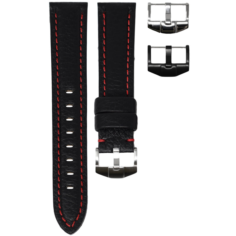 TAG HEUER AQUARACER STRAP - BLACK LEATHER / RED STITCHING