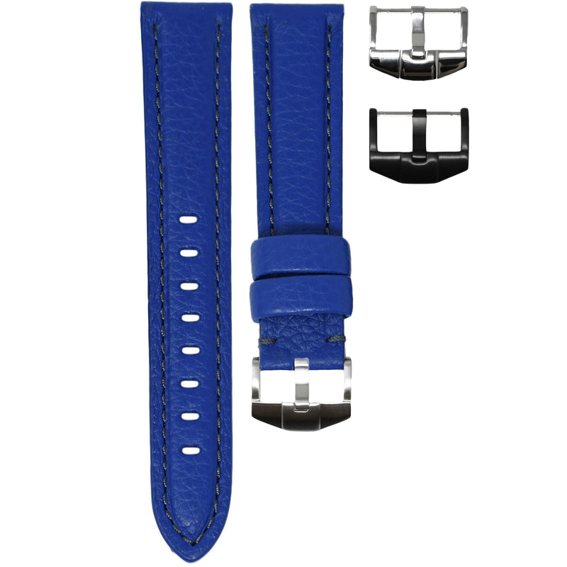 TAG HEUER AQUARACER STRAP - BLUE LEATHER / GREY STITCHING