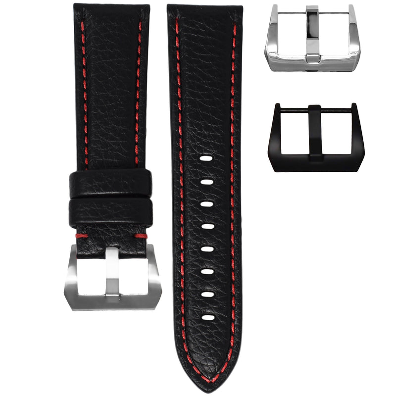 TUDOR BLACK BAY STRAP - BLACK LEATHER / RED STITCHING